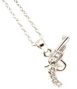 Pistolhalsband silver med kristaller
