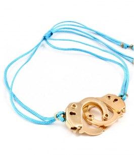 Armband - Handcuffs Turkost/Guld
