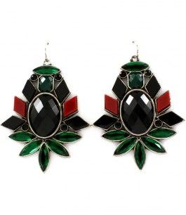 Örhängen med stora stenar i grönt/rött/svart