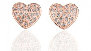 Örhängen Roséguld / Hjärtan med swarovskikristaller
