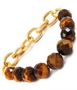 Armband med stenar och guldkedja