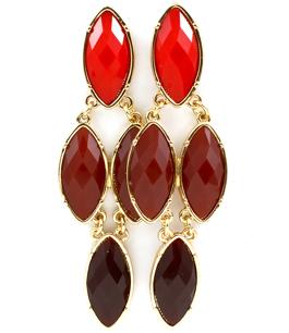 Red Teardrop Earrings / Red