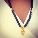 Halsband Onyx + Skulls UNISEX