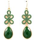 Örhängen mdd gröna pärlor och droppstenar