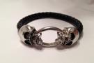 Läderarmband JAX med dödskallar i silverplätering, unisex