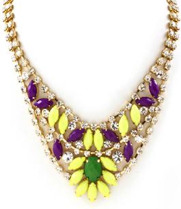 Crispy necklace - gnistrande halsband med gula & lila stenar
