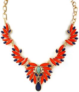 Marquise Shape - maffigt halsband med röda & blåa stenar
