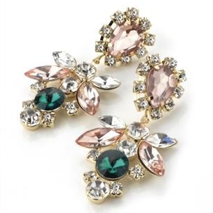 Örhängen Jessie - stenar i rosa, grönt & vitt