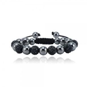 Makramé med svarta rhinestones, 6 pärlor