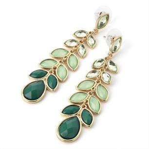 Örhängen Green day - multidrop örhängen i grönt & guld