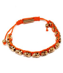 Dödskallearmband UNISEX Guld / Orange