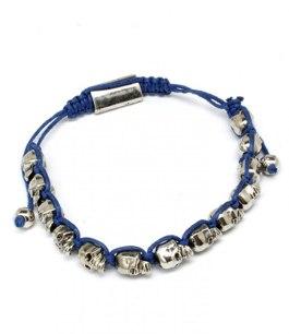 Dödskallearmband UNISEX Silver/Blå