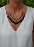 Tassel-halsband i grönt, vitt & svart