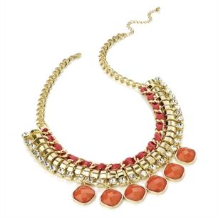Halsband Jasmine - guldkedja, små kristaller & rosa detaljer