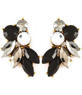 Underbara örhängen i skimrande grått, svart & kristall