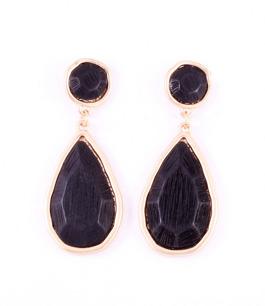 Droppformade örhängen i svart & guld