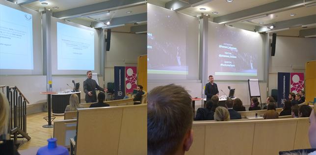 Viktor Nehag och Johannes Hansen under fredagens föreläsningar.