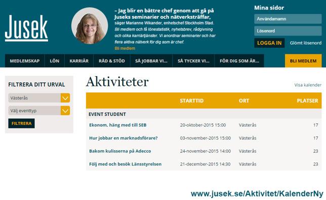 Klicka på bilden för att komma direkt till Juseks aktivitetslista.