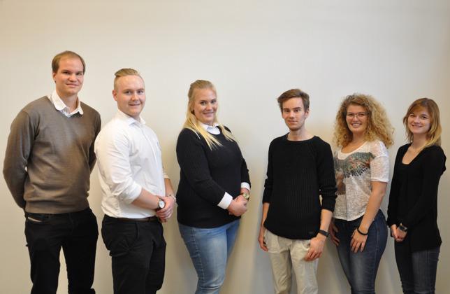 Bild: Delar av Styrelsen 2016. Från vänster: Robert, Freddy, Sofie, Jonas, Michaela och Louise. (Peter och Daniel saknas)