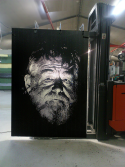 """The old man""   Porträttmotiv  -  laserskuret 1,1 x 1,7m"
