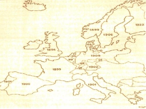 Tidpunkter för första lagstiftningen om automobiltrafik i olika europeiska länder.  Källa: Sven Godlund 1954, sid 12.