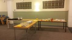 Tacobuffé och ett bord med medlemskläder som några också passade på att köpa! :)