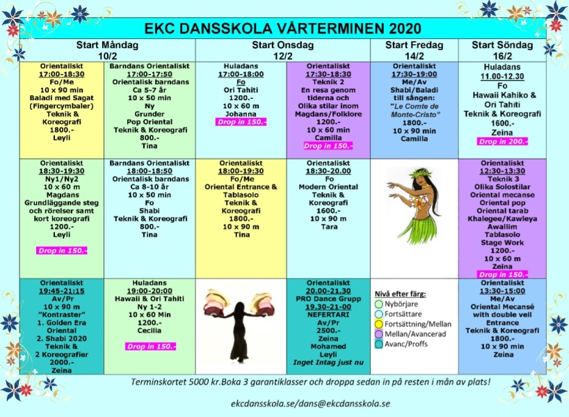 Schema EKC danskurser våren 2020