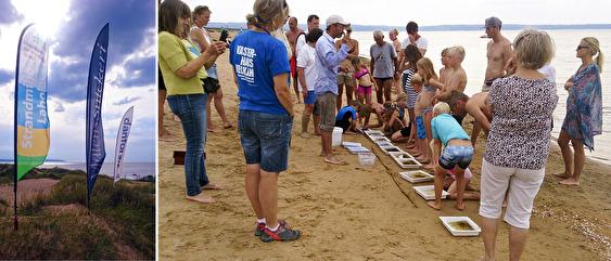 Både barnen och de vuxna lyssnar intresserat när Patrik Slimane berättar att även de minsta vattendjuren spelar en stor roll för vår havsmiljö.
