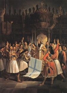 Source (Βικιπαίδεια/Wikipedia): Δοξολογία στην Αγία Λαύρα, Ο Παλαιών Πατρών Γερμανός ευλογεί την σημαία της επανάστασης.