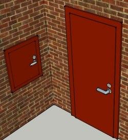 Brandavskiljande lucka och dörr