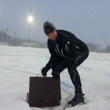 Skridsko-eldsjälen och speakern Björn Forslund.