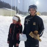 Clara Forslund och herrvinnaren Viktor Johansson från Sundsvall Hockey.