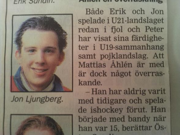 Jon ur Sundsvalls Tidning säsongen 2000/01 då fyra selångerspelare var aktuella för U21-landslaget.