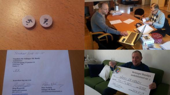Övre till vänster: Resultatet. Övre till höger: Selånger Bandys lotteriansvarige Peter Norberg och lotterikontrollant Börje Bergström. Nedre till vänster: Vinstlistan. Nedre till höger: Vinnaren Håkan Eriksson