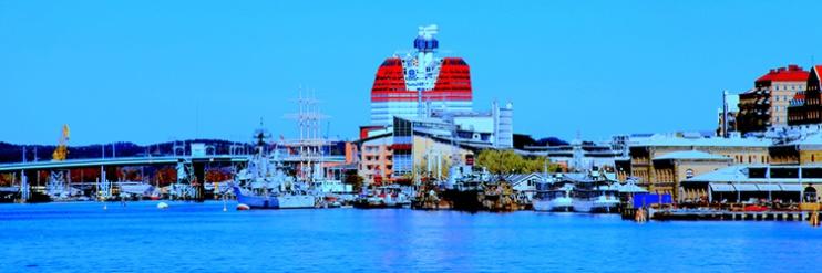 "Fotokonst / Konstfoto / Fototavla - Göteborg - ""BLUE HARBOUR #1""  (Format 3x1))"
