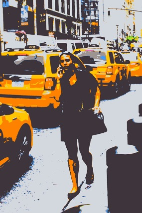 """Fotokonst / Fototavla - New York - """"THE GIRL AND THE YELLOW CABS""""  (Format 2x3)"""