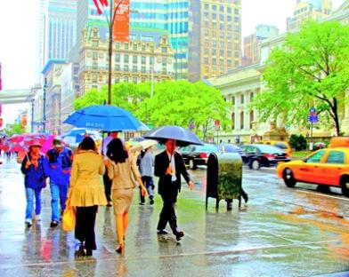 "Fotokonst / Fototavla - New York - ""UMBRELLAS ON FIFTH AVENUE"" (Format 5x4)"