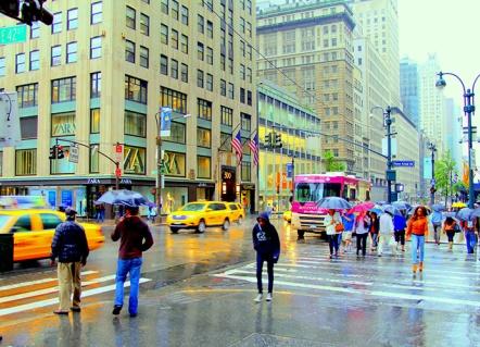 "Fotokonst / Fototavla - New York - ""A RAINY DAY""  (Format 3x2)"