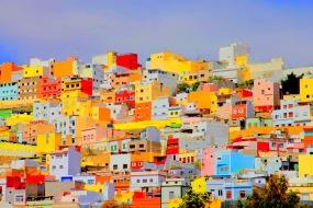 """Fotografisk konst / Fototavla - Las Palmas -    """"LAS CASAS MULTICOLORES""""   (Format 3x2)"""