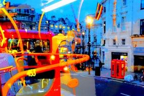 "Fotokonst / Konstfoto / Fototavla - London - ""NIGHT BUS #1"" (Format 3x2)"
