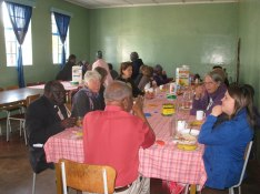 Vi åt i Bibelskolans matsal, med LM Dube som värd.