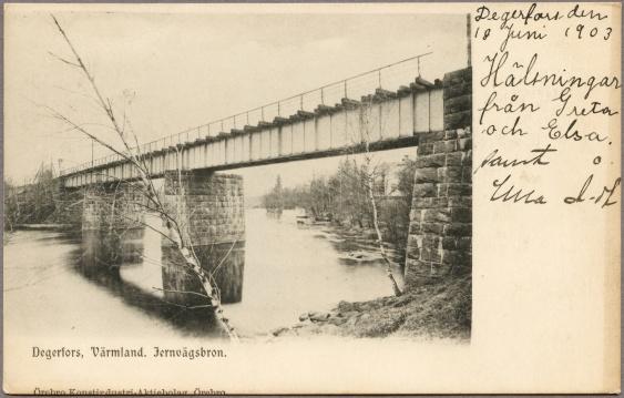 Järnvägsbro över Letälven mellan Degerfors och Svartå.. foto 1899  källa Järnvägsmuseet