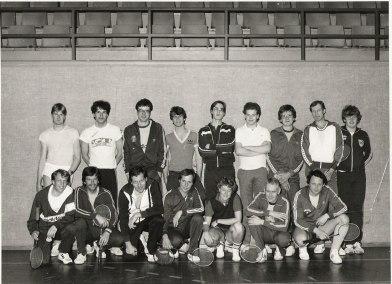 Medlemmar i Vargöns badminton klubb på tidigt 80-tal