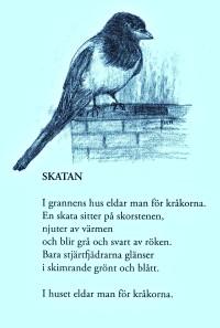 """Dikten SKATAN ur Leif Larssons """"Kråkorna går inåt med fötterna""""."""