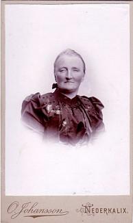 Föreställer troligen Amalia Andersdotter gift med Reinhold Steinvall. Hon var född 1845 död 1917. Bilden ur Porträttfynd.