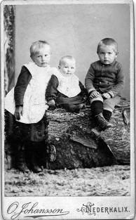 August o Maria Hallmans barn: Agda, Enok o Viktor. Enok född 1896 och är ju ca 1 år på bilden vilket indikerar att Otto Johansson startat ca år 1897 och med denna logga.. Bilden ur kalixbilder.se