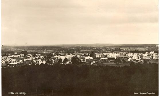 Vy över Kalix av Rupert Engström i augusti 1934. Har ringat in det jag tror är Enströms vita gård i två våningar på Lejonsgatan längst till höger. Kyrkan är längst till vänster.