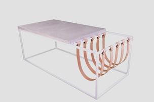 Bord i kalksten med tidningsställ - Bord i kalksten med tidningsställ