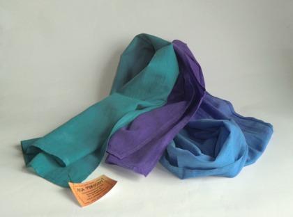 Blå-lila-turkos lång sjal