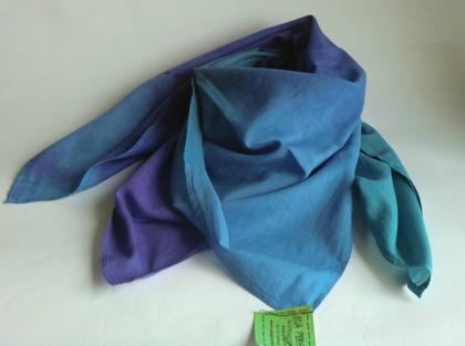 Blå-lila-turkos kvadratisk sjal
